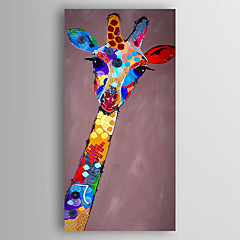 voordelige Olieverfschilderijen-Handgeschilderde Dieren Verticaal,Modern Eén paneel Canvas Hang-geschilderd olieverfschilderij For Huisdecoratie
