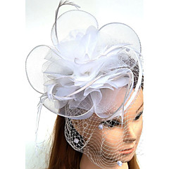 cheap Party Headpieces-Tulle Feather Net Fascinators Hats Birdcage Veils 1 Wedding Special Occasion Headpiece