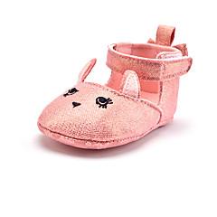 billiga Brudskor-Flickor Skor Glitter / Textil Vår Första gåsko Platta Krok och ögla för Barn Rosa