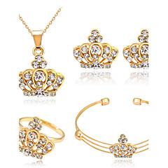 baratos Conjuntos de Bijuteria-Mulheres Cristal Conjunto de jóias - Strass Coroa Básico Incluir Dourado Para Presentes de Natal / Casamento / Festa / Anéis