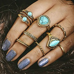 8pcs/set Midi Rings Turquoise Unique Design Fashion Vintage Alloy Jewelry For Party Daily Casual 1set