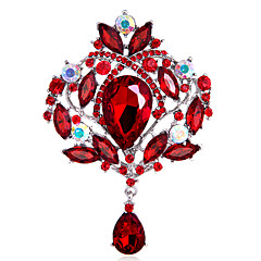cheap Pins and Brooches-Women's Girls´ Brooches Euramerican Fashion Personalized Rhinestone Glass Alloy Crown Rainbow Black Blue Red Purple Jewelry ForWedding