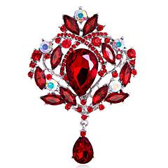 Dámské Dívky Brože Módní Přizpůsobeno Euramerican Štras Sklo Slitina Crown Shape Šperky Pro Svatební Párty Zvláštní příležitosti Denní