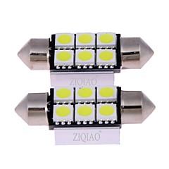 Ziqiao hvit 36mm 5050 6 smd led c5w bil ledet auto interiør dome dør lyspære vei belysning arbeidslampe (12v / 2pcs)