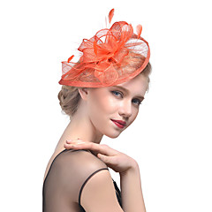 cheap Party Headpieces-Tulle Feather Fascinators Headwear with Floral 1pc Wedding Special Occasion Headpiece