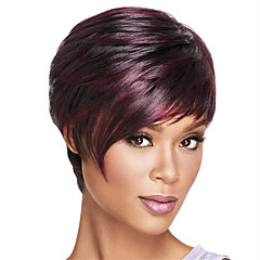 cheap Wigs & Hair Pieces-Synthetic Wig Women's Straight Ombre Bob / Short Bob / With Bangs Synthetic Hair Heat Resistant / Ombre Hair Ombre Wig Capless Dark Wine / Yes