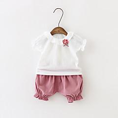 billige Sett med babyklær-Baby Pige Ferie / I-byen-tøj / Afslappet / Hverdag Ensfarvet Kort Ærme Normal Normal Bomuld Tøjsæt Grøn 100