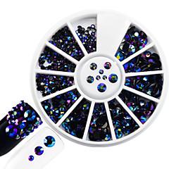 1kpl muoti sekoitettu koko paistaa hartsi hyytelö tekojalokivi koriste kynsikoristeet pyöreä levy kimallus värikäs laser liekki