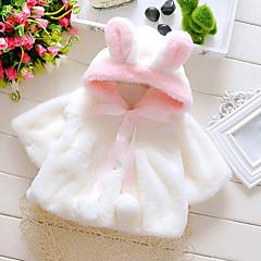 billige Overtøj til babyer-Baby Pige Pænt tøj Daglig / Ferie / I-byen-tøj Ensfarvet Langærmet Normal Normal Bomuld dun- og bomuldsforet Hvid 100