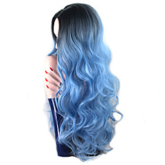 cheap Wigs & Hair Pieces-Synthetic Wig Women's Body Wave Blue Synthetic Hair Ombre Hair / Dark Roots / Middle Part Blue Wig Long Capless Blue