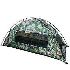 1 person Telt Enkelt camping Tent Ett Rom Brette Telt Vanntett Bærbar til Vandring Camping 2000-3000 mm Fibre de verre Oxford CM