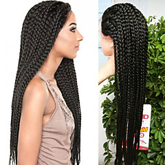 cheap Beauty & Hair-32inch black braided wig lace frontal micro synthetic box braids wigs heat resistant fiber long synthetic wigs