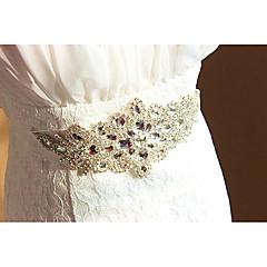 saten düğün partisi / akşam dailywear sashes ile elmas taklidi kristal boncuklu