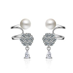 お買い得  ファッションピアス・イヤリング-女性用 人造真珠 真珠 / ジルコン クリップイヤリング  -  ユニーク / アレルギー対策 シルバー 不規則な イヤリング 用途 パーティー / 日常着 / 贈り物