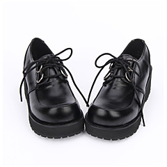 Lolita Shoes Classic/Traditional Lolita Punk Lolita Lolita Handmade Platform Solid Color Lolita 5 CM Black ForPU Leather/Polyurethane