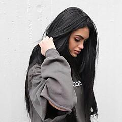 abordables Perruques Synthétiques-Perruque Lace Front Synthétique Droit soyeux Partie latérale / Partie libre Cheveux Synthétiques Soyeux / Résistant à la chaleur / Ligne de Cheveux Naturelle Noir Perruque Femme Long Dentelle