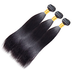voordelige Weaves van echt haar-Indiaas haar Yaki Remy haar Menselijk haar weeft 3 bundels 10-20 inch(es) Menselijk haar weeft Pik zwart Extensions van echt haar