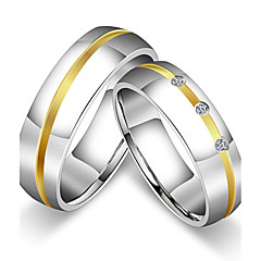 cheap Rings-Women's Couple's Couple Rings Ring Band Ring , Titanium Cubic Zirconia Titanium Steel Round Princess Classic Vintage Simple Style Wedding