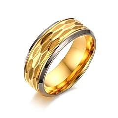 levne Prsteny-Pánské Prsten - Pozlacené Vintage, minimalistický styl, Elegantní 9 / 10 / 11 Zlatá Pro Svatební / Večírek / Děkuji / Denní