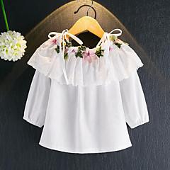 billige Pigetoppe-Pige Bluse Blomstret, Rayon Forår Efterår Langærmet Blomster Hvid