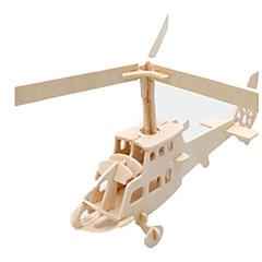 baratos -Quebra-Cabeças 3D Quebra-Cabeça Modelos de madeira Aeronave Construções Famosas Helicóptero Faça Você Mesmo Madeira Clássico Crianças
