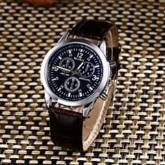 Herrn Armbanduhren für den Alltag Sportuhr Modeuhr Chinesisch Quartz Wasserdicht Leder Band Kreativ Freizeit Elegant Schwarz