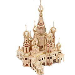 cheap -3D Puzzle Jigsaw Puzzle Wood Model Model Building Kit Castle Famous buildings House DIY Wood Classic Unisex Gift