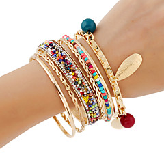 cheap -Women's Bangles Wrap Bracelet Strand Bracelet Rhinestone Handmade Costume Jewelry Fashion Bohemian Metal Alloy Shiny Metallic Metal Round