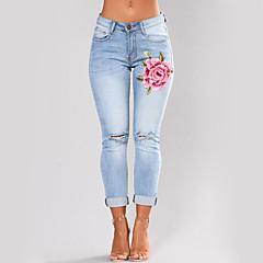 Damen Skinny Eng Schlank Jeans Hose - Bestickt, Stickerei