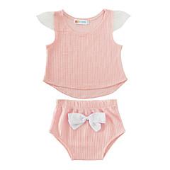 billige Sett med babyklær-Baby Pige Bomuld / Afslappet Helfarve Kort Ærme Normal Normal Bomuld Tøjsæt Lyserød 100