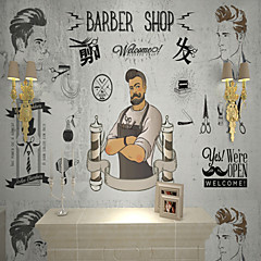cheap -Barber Custom 3D Large Wall Coverings Mural Wallpapers Fitted Hair Salon Bedroom Art