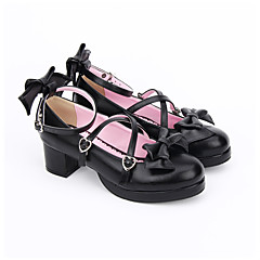 cheap Lolita Footwear-Lolita Shoes Sweet Lolita Dress Classic Lolita Dress Handmade Princess Lolita Chunky Heel Lolita Bowknot 4.5 CM Black For PU Leather PU