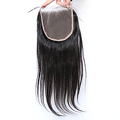 cheap Wigs & Hair Pieces-Silk Straight 5x5inch Lace Closure Human  Hair Top Lace Closure with Baby Hair