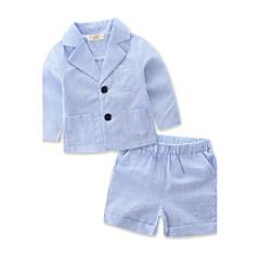 billige Tøjsæt til drenge-Drenge Stribet Stribet / Stribe Langærmet Normal Normal Bomuld / Polyester Tøjsæt Blå 100