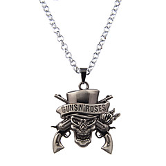 Lureme Vintage Jewelry Guns N' Roses Rock Band Skull Pendant Necklace for GnR Fans