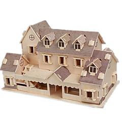 baratos -Quebra-Cabeças 3D Quebra-Cabeça Modelos de madeira Brinquedos de Montar Construções Famosas Casa Faça Você Mesmo Madeira Clássico Unisexo