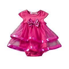 Χαμηλού Κόστους Βρεφικά μπλουζάκια-Μωρό Κοριτσίστικα Μπλούζα Ακρυλικό Πολυεστέρας Συμπαγές Χρώμα Καλοκαίρι Κοντομάνικο Λουλουδάτο Ανθισμένο Ροζ Βυσσινί Φούξια