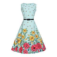 baratos Roupas de Meninas-Infantil Para Meninas Floral / Desenho Moderno Estampado Sem Manga Algodão / Poliéster / Algodão Vestido Azul Claro