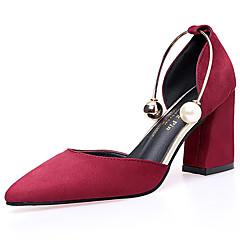 Mulheres Sapatos Borracha Verão Conforto Sandálias Caminhada Salto de bloco Ponta Redonda Presilha Bege / Rosa claro / Vinho