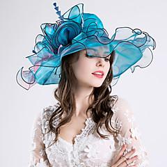 羽毛シルクオーガンザの魅力帽子のヘッドピースクラシックな女性のスタイル