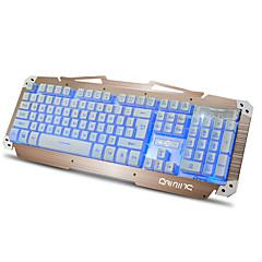 billiga Keyboards-M-500S Kabel Multi färg bakgrundsbelysning 104 Gaming Keyboard Spill-resistent bakgrundsbelyst USB Port driven
