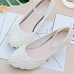 cheap Wedding Shoes-Women's Shoes Lace PU Spring Fall Slingback Wedding Shoes Low Heel Pointed Toe Round Toe Beading Imitation Pearl Appliques Flower for
