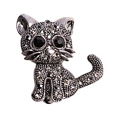 Cute Little Cat Brooches Pin Up Jewelry For Women Suit Hats Clips Corsages Brand Bijoux Brooch