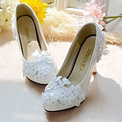 Women's Wedding Shoes Slingback Spring Fall Lace Leatherette Wedding Dress Party & Evening Office & Career Rhinestone Applique Imitation