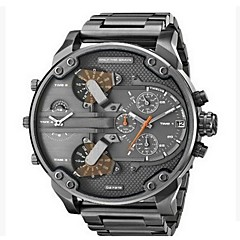 Men's Military Watch Dress Watch Fashion Watch Wrist watch Chinese Quartz Calendar Dual Time Zones Punk Large Dial Stainless Steel Band