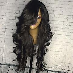 billiga Peruker och hårförlängning-Äkta hår Spetsfront Peruk Brasilianskt hår Kroppsvågor 130% Densitet Med Babyhår / Dam / Naturlig hårlinje Natur Svart Dam Mellan / Lång Äkta peruker med hätta