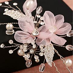 Χαμηλού Κόστους -Τούλι Απομίμηση Μαργαριταριού Στρας Δίχτυ Κράμα Λουλούδια Κλιπ Μαλλιών Headpiece