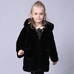 tanie Odzież dla dziewczynek-Dzieci Dla dziewczynek Solidne kolory Długi rękaw Długie Sztuczne futro / Specjalny rodzaj futra Kurtka / płaszcz Czarny Dziewczynka 120