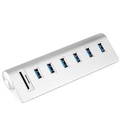 Rocketek USB HUB High Speed Aluminum Usb 3.0 Hubs 6 Port Power Interface with TF SD Card Reader for iMac MacBook Air Laptop PC USB3-6P-C2-EU-UK