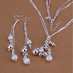 baratos Conjuntos de Bijuteria-Mulheres Conjunto de jóias - Prata Chapeada Bola Básico Incluir Brincos Compridos Colar Prata Para Casamento Festa Diário